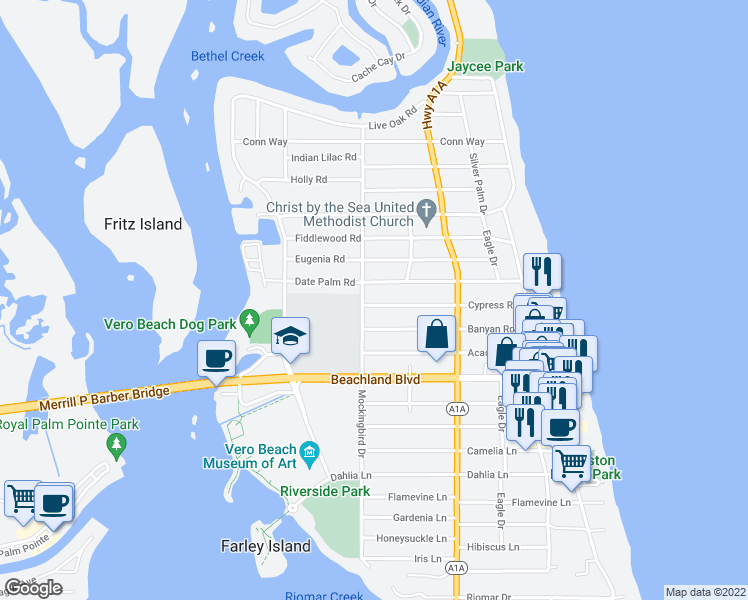 map of restaurants, bars, coffee shops, grocery stores, and more near 515 Cypress Road in Vero Beach