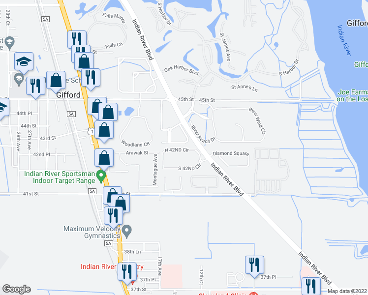 map of restaurants, bars, coffee shops, grocery stores, and more near 1650 North 42ND Circle in Vero Beach