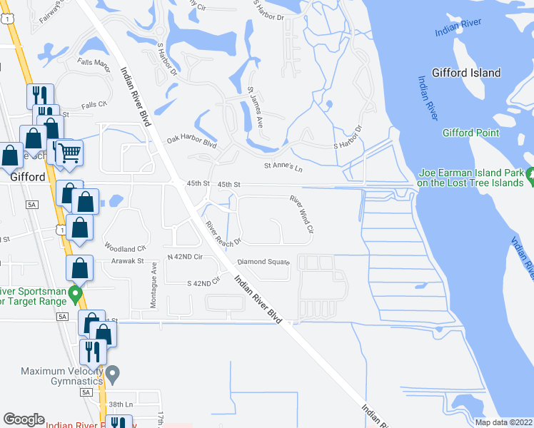 map of restaurants, bars, coffee shops, grocery stores, and more near 4336 Summer Breeze Terrace in Vero Beach