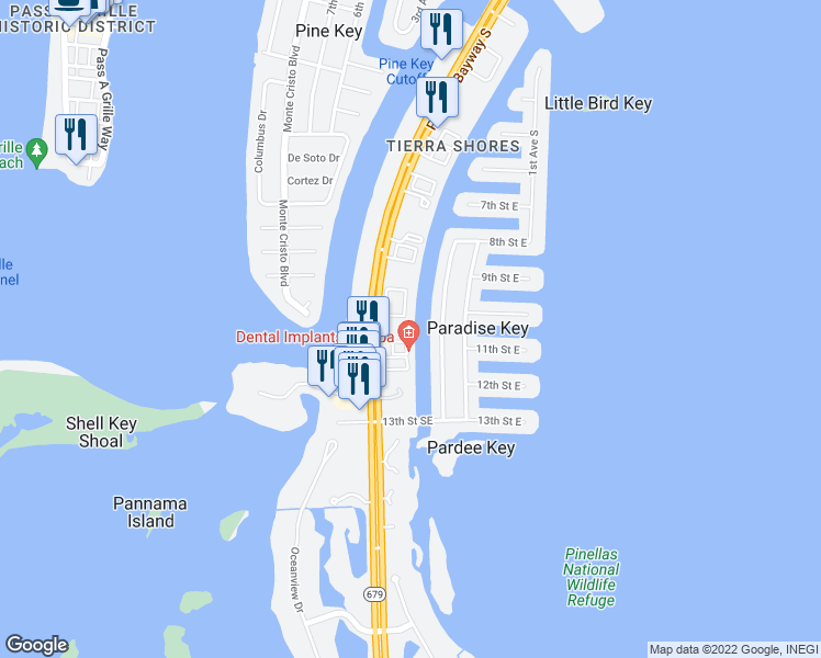 map of restaurants, bars, coffee shops, grocery stores, and more near 1077 Pinellas Bayway South in Tierra Verde