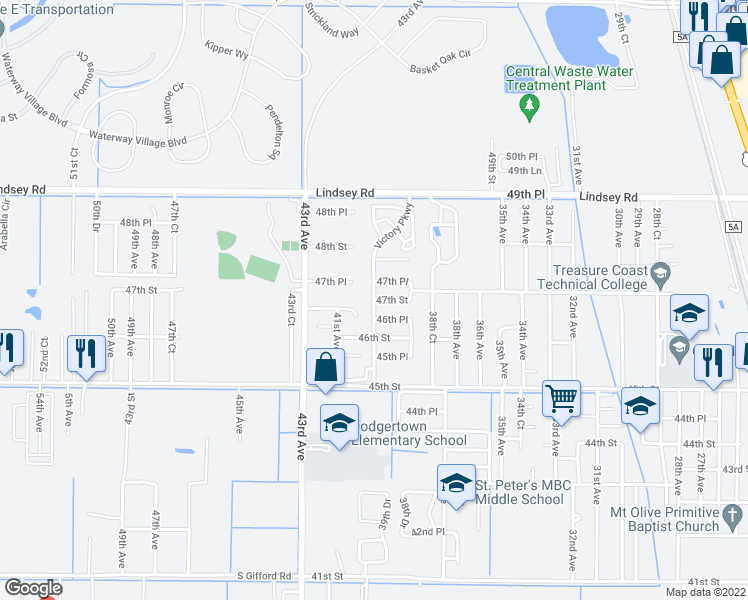 map of restaurants, bars, coffee shops, grocery stores, and more near 4675 40th Avenue in Vero Beach