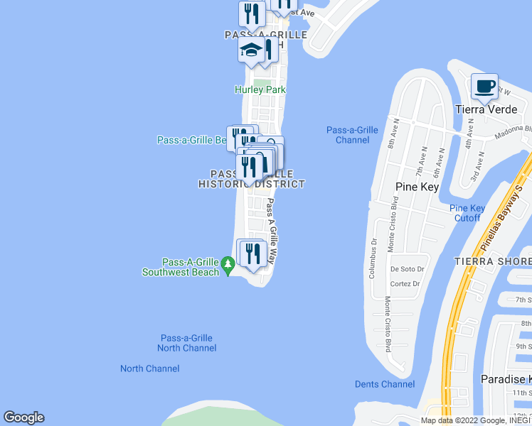 map of restaurants, bars, coffee shops, grocery stores, and more near 504 Pass a Grille Way in St. Pete Beach