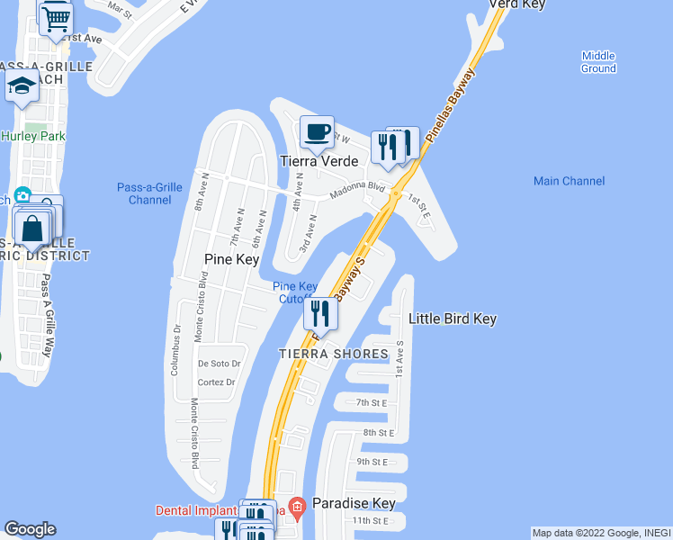map of restaurants, bars, coffee shops, grocery stores, and more near 350 Pinellas Bayway South in Saint Petersburg
