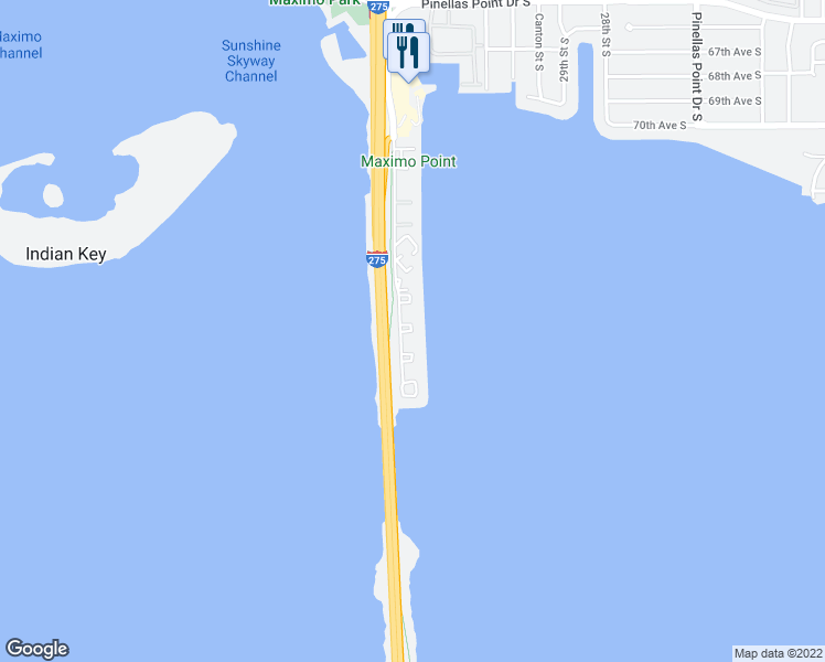 map of restaurants, bars, coffee shops, grocery stores, and more near 7530 Sunshine Skyway Lane South in Saint Petersburg