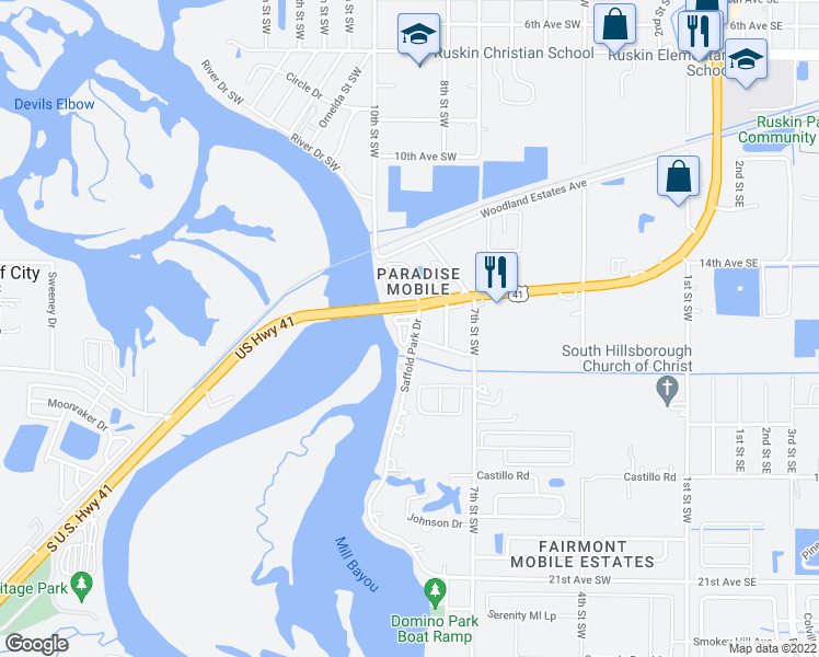 map of restaurants, bars, coffee shops, grocery stores, and more near Susie Circle in Ruskin