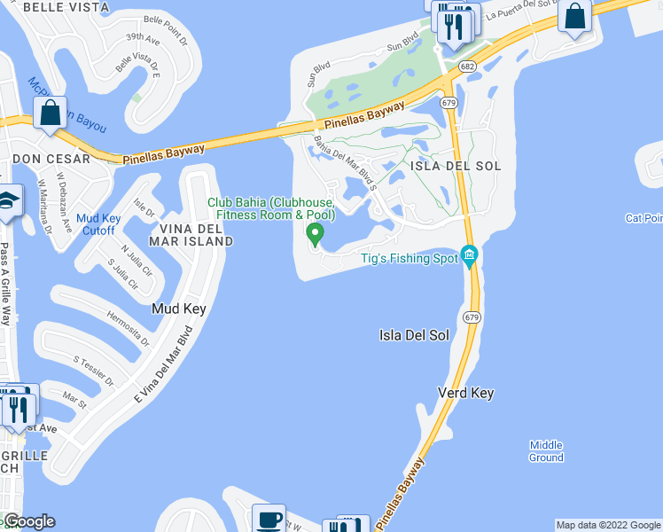 map of restaurants, bars, coffee shops, grocery stores, and more near 6287 Bahia Del Mar Circle in Saint Petersburg