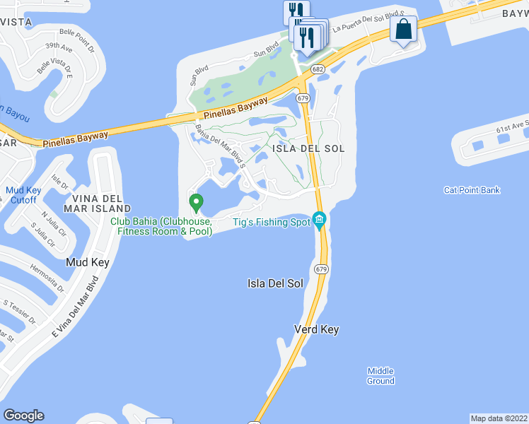 map of restaurants, bars, coffee shops, grocery stores, and more near 6295 Bahia Del Mar Circle in Saint Petersburg