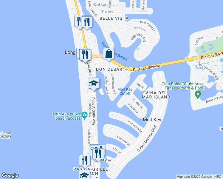 map of restaurants, bars, coffee shops, grocery stores, and more near 3112 West Debazan Avenue in St. Pete Beach