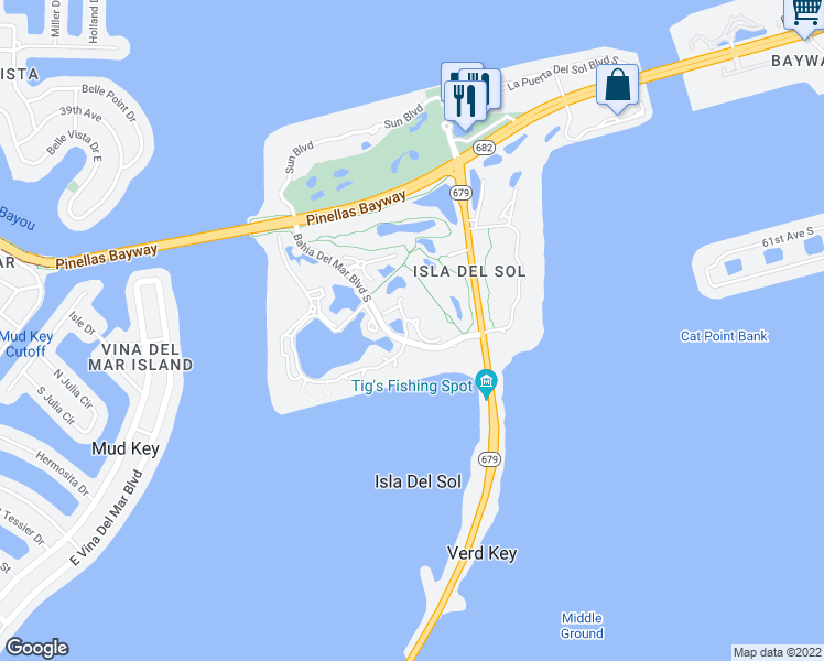 map of restaurants, bars, coffee shops, grocery stores, and more near 6047 Bahia Del Mar Boulevard South in Saint Petersburg