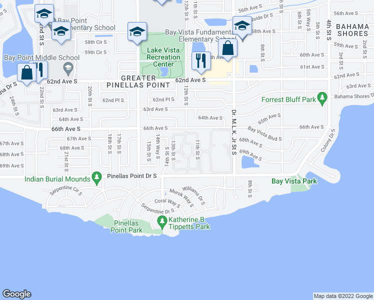 map of restaurants, bars, coffee shops, grocery stores, and more near 1175 Pinellas Point Drive South in St. Petersburg