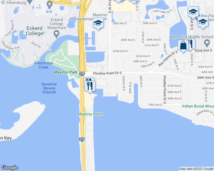map of restaurants, bars, coffee shops, grocery stores, and more near 6600-6678 31st Way South in Saint Petersburg