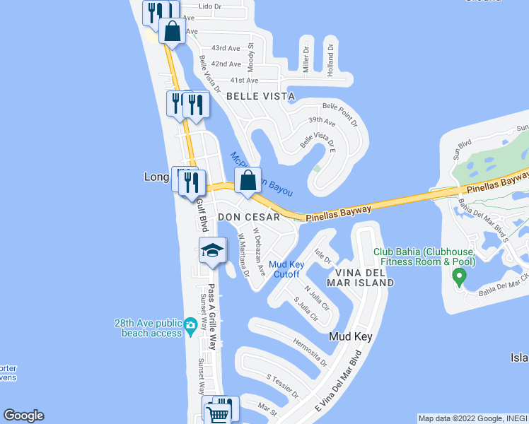 map of restaurants, bars, coffee shops, grocery stores, and more near 3300 East Maritana Drive in St. Pete Beach