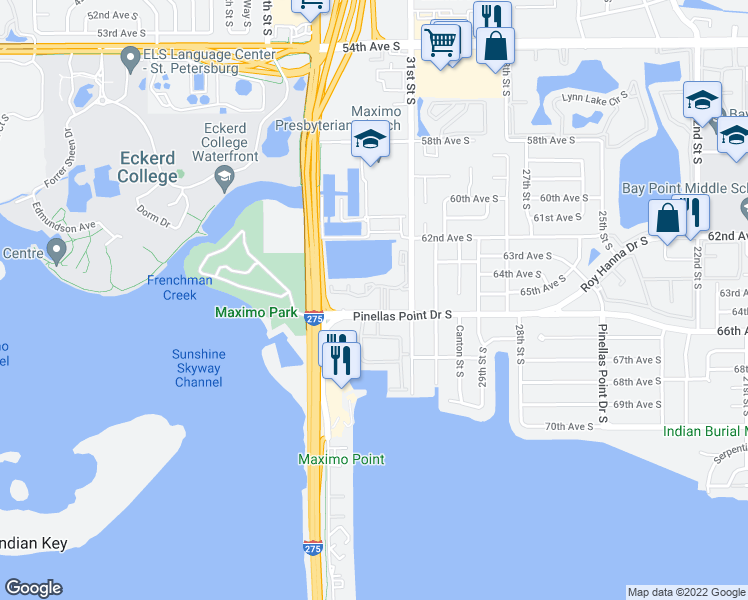 map of restaurants, bars, coffee shops, grocery stores, and more near 6401 31st Street South in St. Petersburg