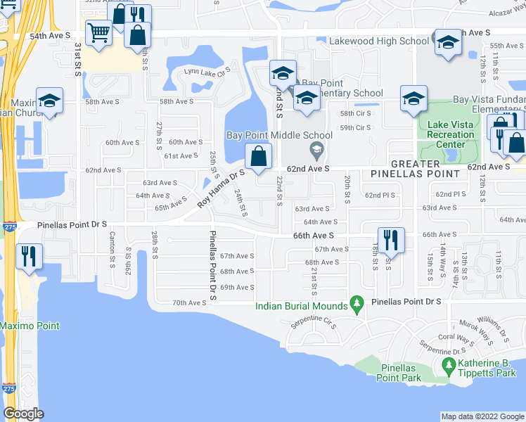 map of restaurants, bars, coffee shops, grocery stores, and more near 2540 Roy Hanna Drive South in St. Petersburg