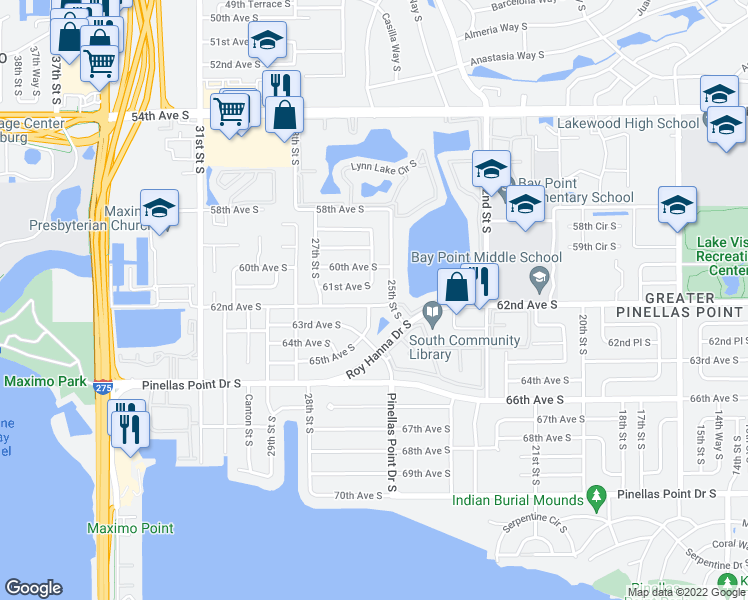 map of restaurants, bars, coffee shops, grocery stores, and more near 2533 62nd Avenue South in Saint Petersburg