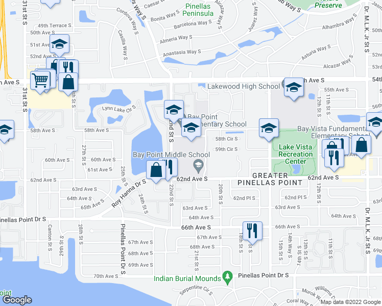 map of restaurants, bars, coffee shops, grocery stores, and more near 2018 59th Circle South in Saint Petersburg