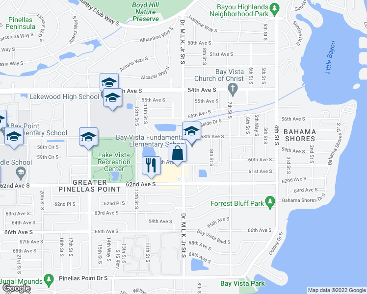map of restaurants, bars, coffee shops, grocery stores, and more near 916-946 58th Avenue South in Saint Petersburg