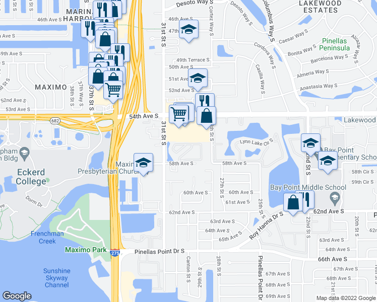 map of restaurants, bars, coffee shops, grocery stores, and more near 3001 58th Avenue South in Saint Petersburg