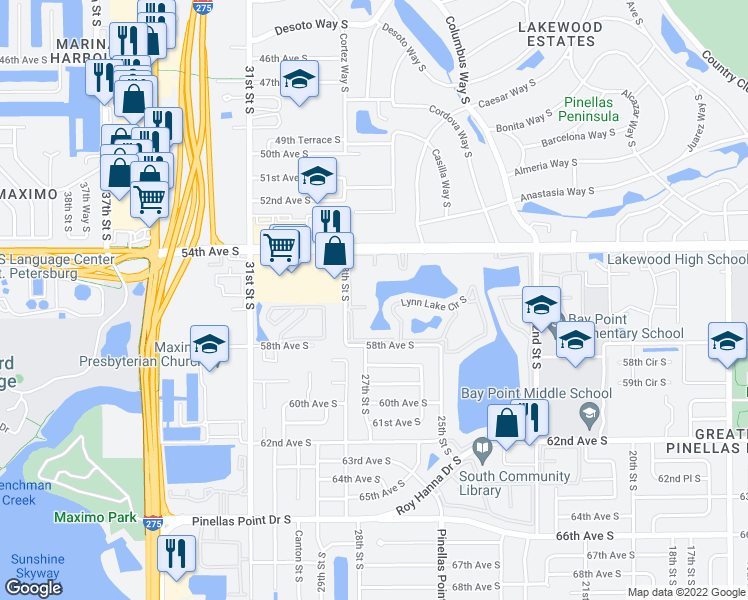 map of restaurants, bars, coffee shops, grocery stores, and more near 5473 27th Street South in St. Petersburg
