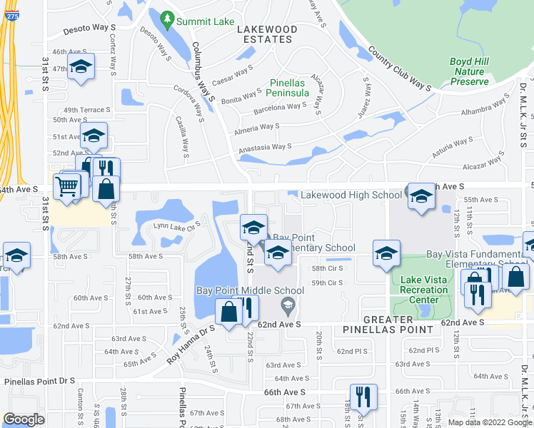 map of restaurants, bars, coffee shops, grocery stores, and more near 2148 54th Avenue South in Saint Petersburg
