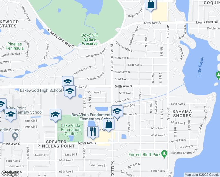 map of restaurants, bars, coffee shops, grocery stores, and more near 900 54th Avenue South in Saint Petersburg