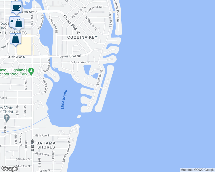 map of restaurants, bars, coffee shops, grocery stores, and more near 4958 Coquina Key Drive Southeast in St. Petersburg