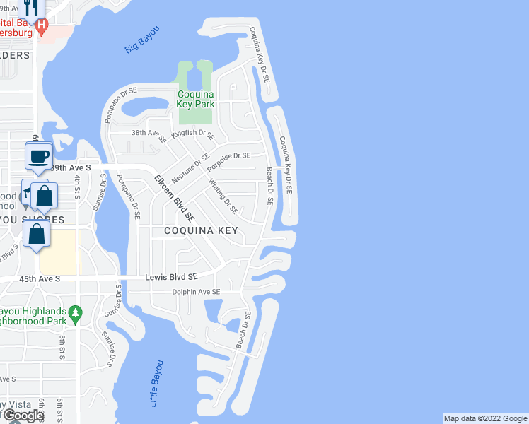 map of restaurants, bars, coffee shops, grocery stores, and more near 4161 Beach Drive Southeast in Saint Petersburg