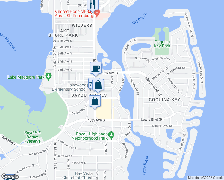map of restaurants, bars, coffee shops, grocery stores, and more near 4652 Miramar Way South in St. Petersburg
