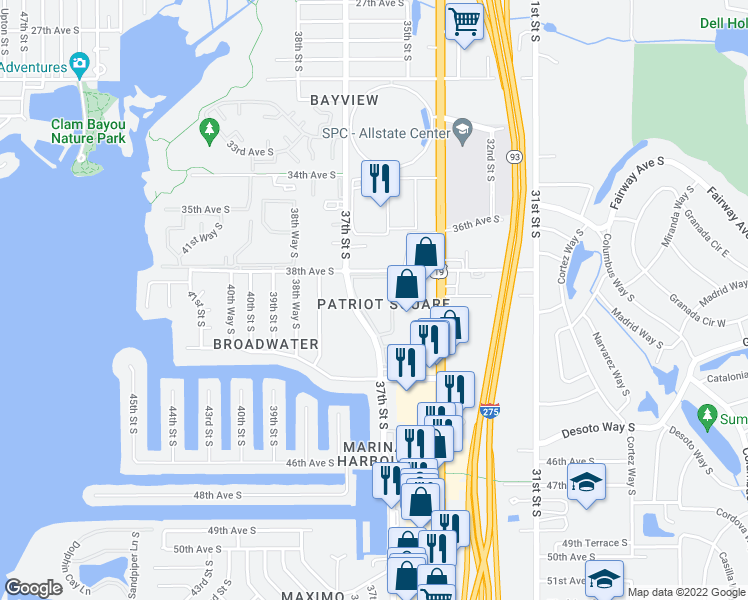 map of restaurants, bars, coffee shops, grocery stores, and more near 3947 35th Way South in Saint Petersburg
