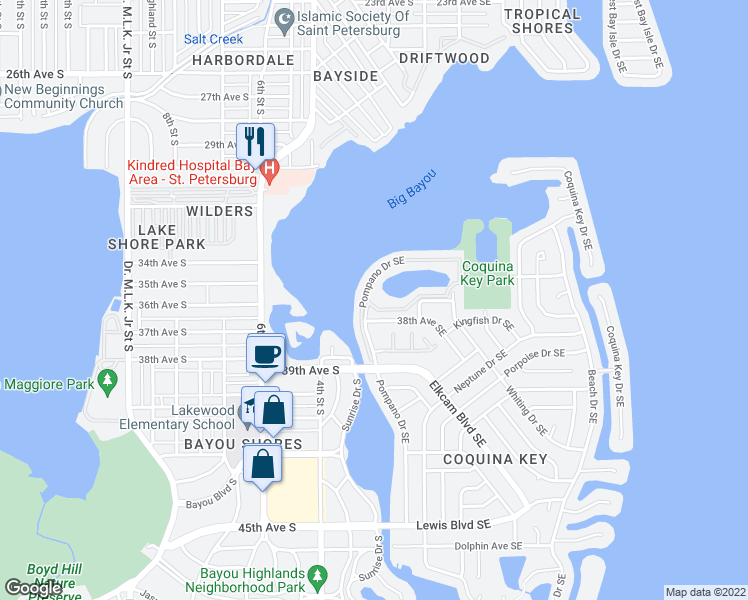 map of restaurants, bars, coffee shops, grocery stores, and more near 3700 Pompano Drive Southeast in St. Petersburg
