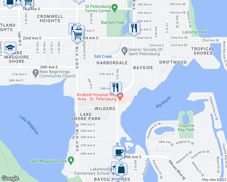 map of restaurants, bars, coffee shops, grocery stores, and more near 930 Central Avenue in St. Petersburg