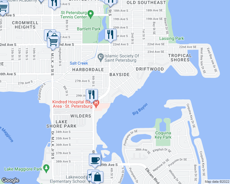 map of restaurants, bars, coffee shops, grocery stores, and more near 327 Ling A Mor Terrace South in Saint Petersburg