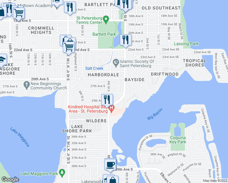 map of restaurants, bars, coffee shops, grocery stores, and more near 523 28th Avenue South in Saint Petersburg