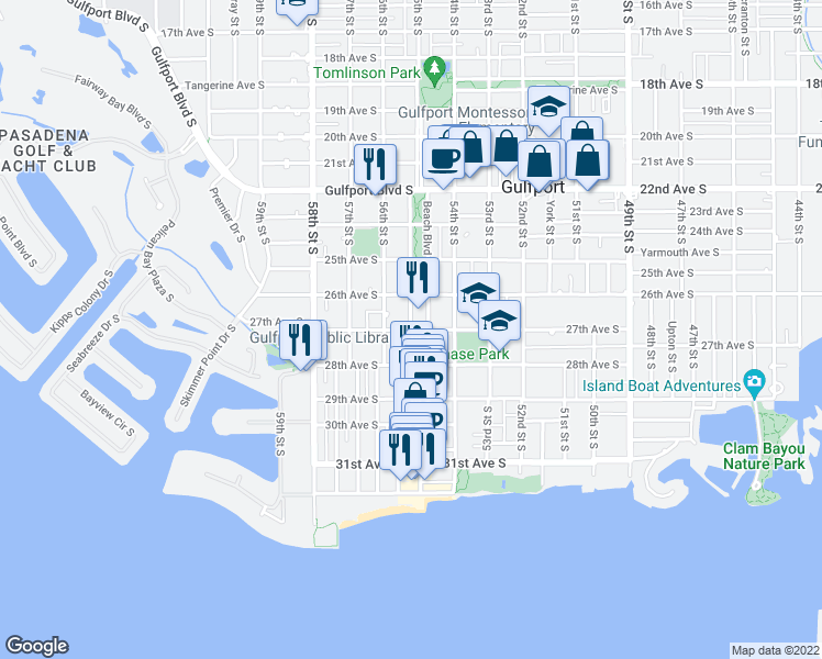 map of restaurants, bars, coffee shops, grocery stores, and more near Beach Boulevard South in Gulfport