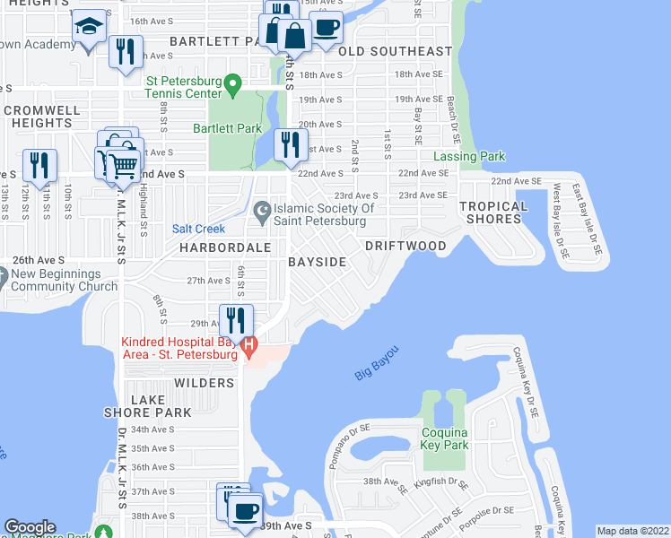 map of restaurants, bars, coffee shops, grocery stores, and more near 2611 Oakdale Street South in St. Petersburg