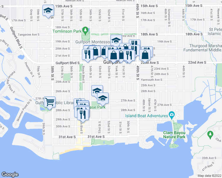 map of restaurants, bars, coffee shops, grocery stores, and more near 2530 52nd Street South in Gulfport