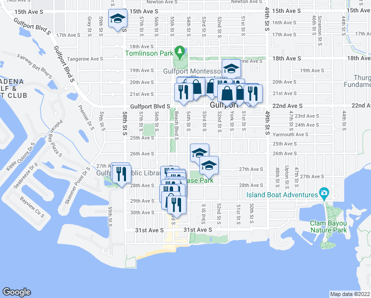 map of restaurants, bars, coffee shops, grocery stores, and more near 2523 54th Street South in Gulfport