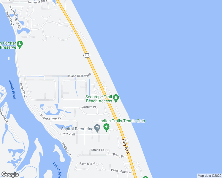 map of restaurants, bars, coffee shops, grocery stores, and more near 8378 Calamandren Way in Indian River Shores