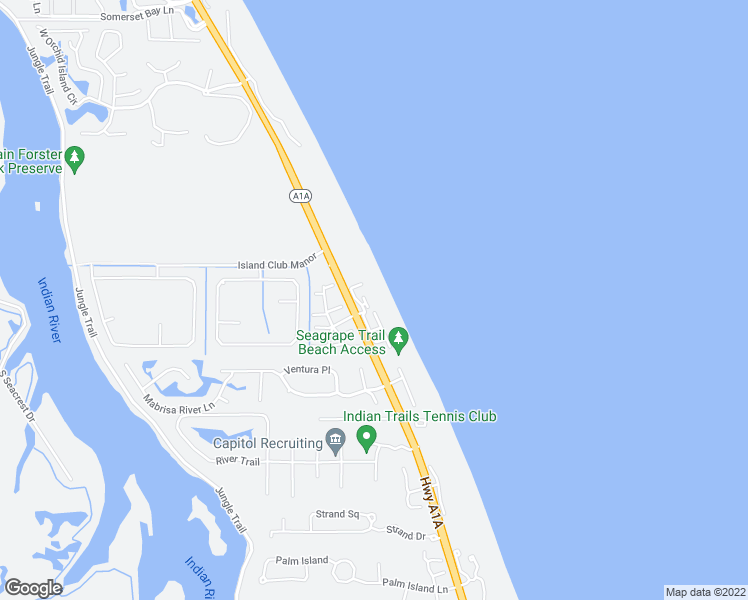 map of restaurants, bars, coffee shops, grocery stores, and more near 8444 Oceanside Drive in Indian River Shores