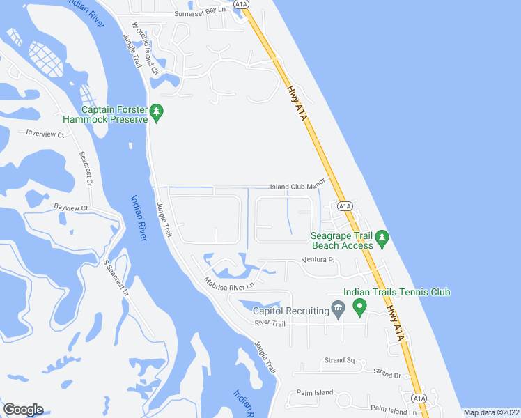 map of restaurants, bars, coffee shops, grocery stores, and more near 844 Island Club Square in Vero Beach