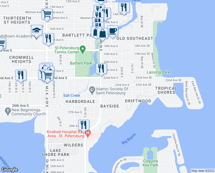 map of restaurants, bars, coffee shops, grocery stores, and more near 330 Wisconsin Court South in St. Petersburg