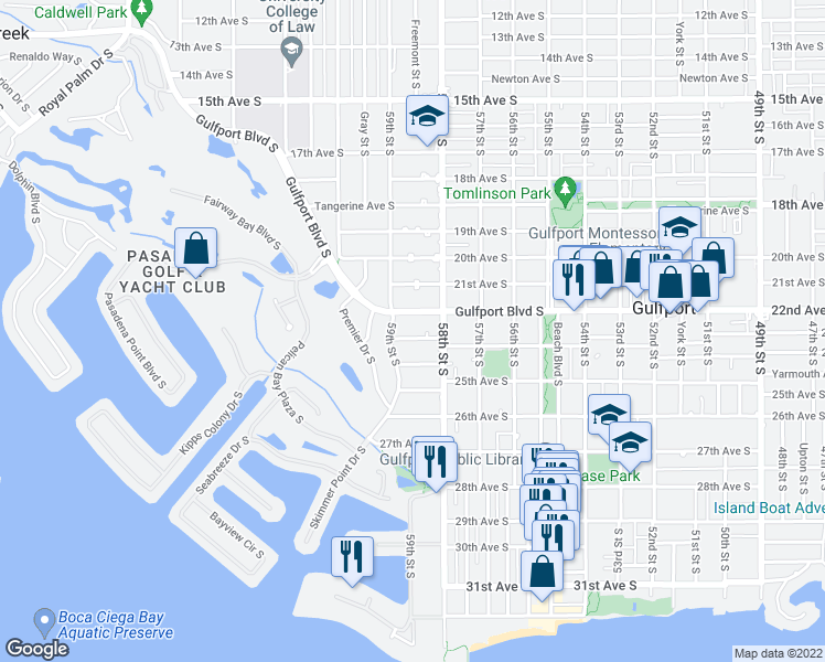 map of restaurants, bars, coffee shops, grocery stores, and more near 5841 23rd Avenue South in Gulfport