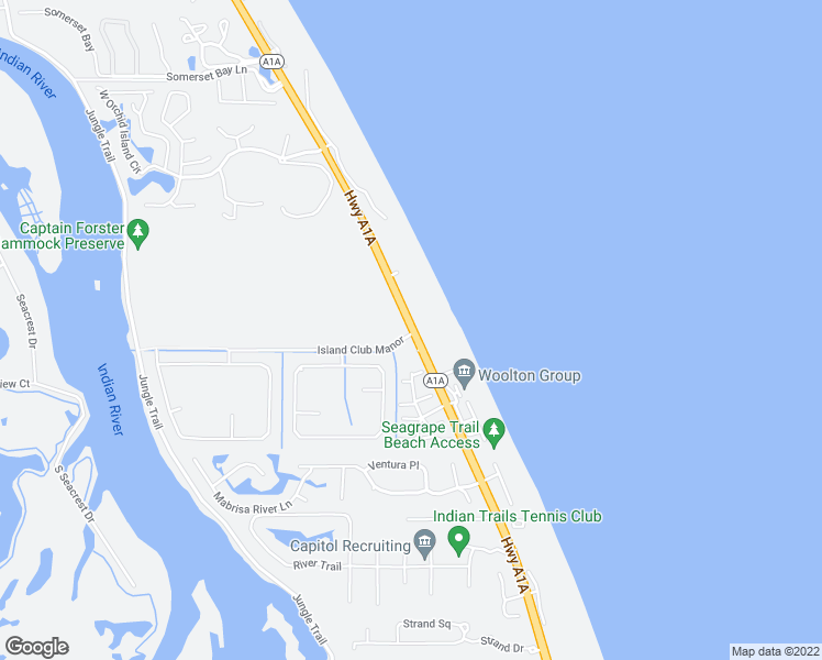 map of restaurants, bars, coffee shops, grocery stores, and more near 8739 Highway A1A in Vero Beach