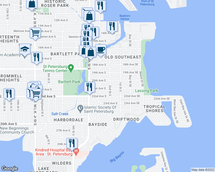 map of restaurants, bars, coffee shops, grocery stores, and more near 211 21st Avenue South in St. Petersburg