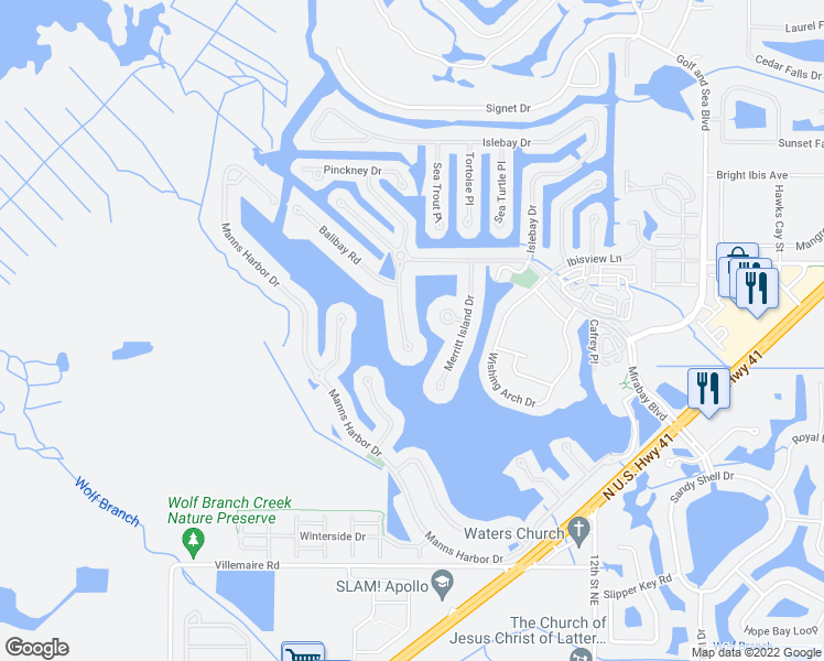 map of restaurants, bars, coffee shops, grocery stores, and more near 5407 Tybee Island Drive in Apollo Beach