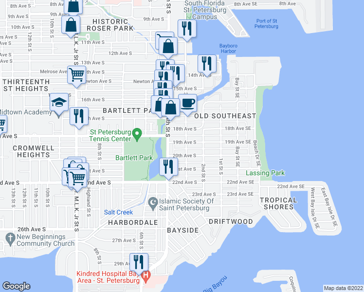 map of restaurants, bars, coffee shops, grocery stores, and more near 310 19th Avenue South in St. Petersburg