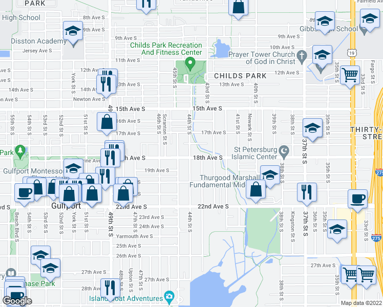 map of restaurants, bars, coffee shops, grocery stores, and more near 1790 44th Street South in St. Petersburg