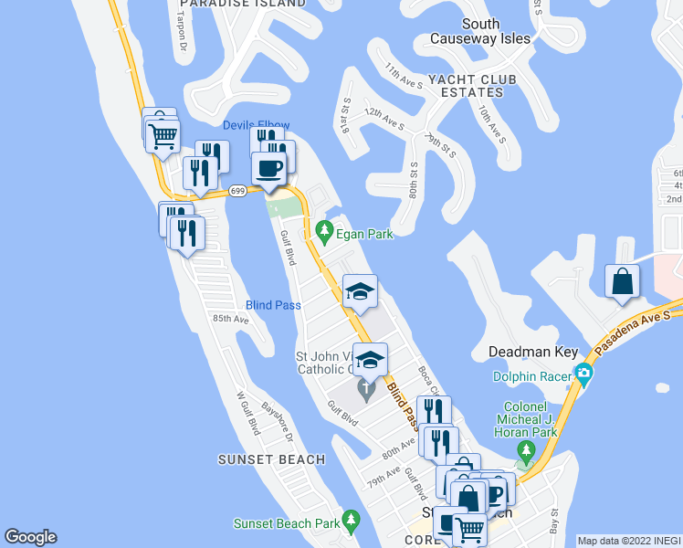 map of restaurants, bars, coffee shops, grocery stores, and more near 8911 Blind Pass Road in St. Pete Beach