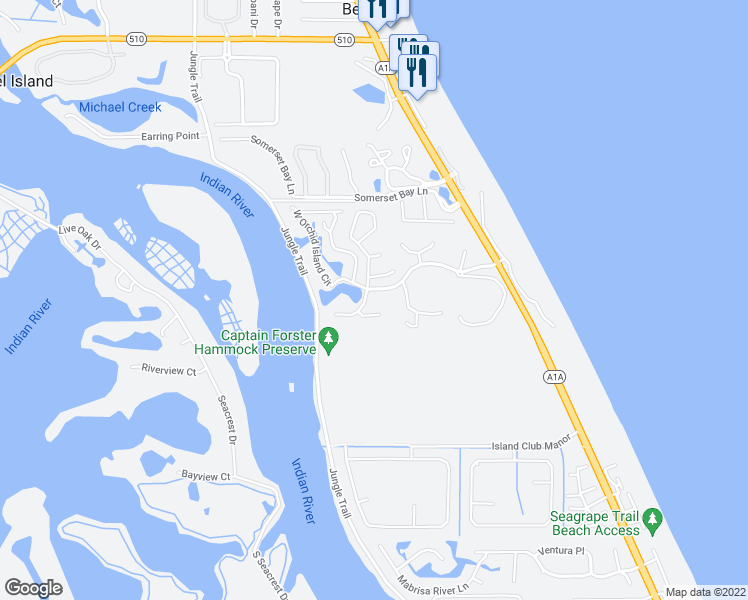 map of restaurants, bars, coffee shops, grocery stores, and more near 1543 Sabal Court in Vero Beach