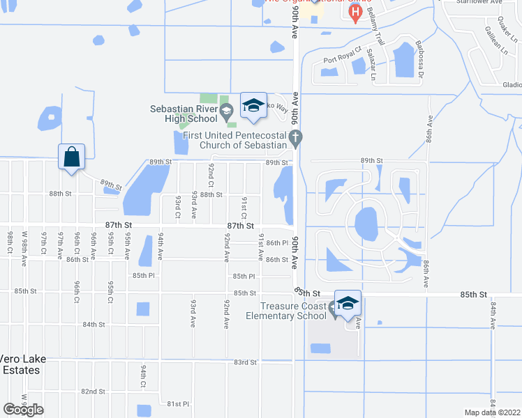 map of restaurants, bars, coffee shops, grocery stores, and more near 8756 91st Avenue in Vero Beach